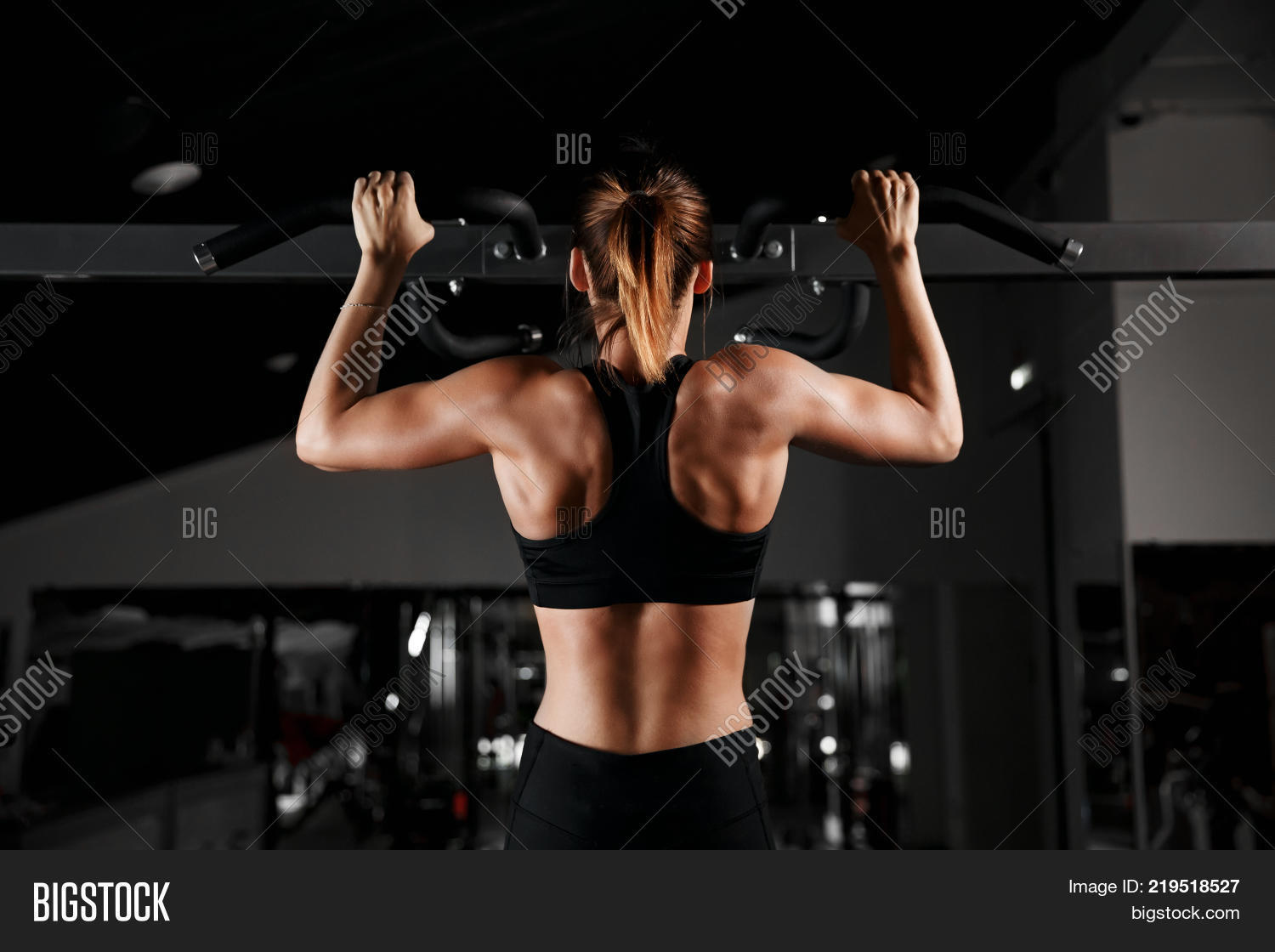 Strong Fit Girl In Sportswear Doing Pull Up Exercise On Horizontal Bar Fitness Workout