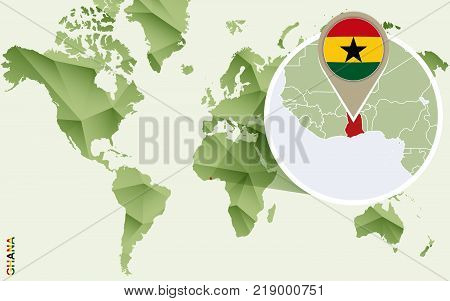 Infographic for Ghana detailed map of Ghana with flag. Vector Info graphic green map.