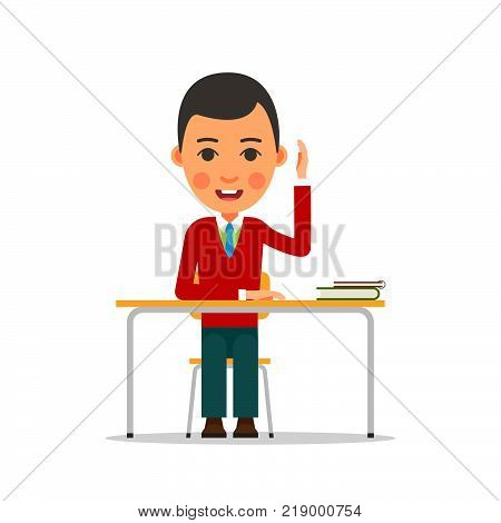 Student Studying. Young Boy Raised His Hand. Student Answers The Question, Sitting At The Table. Ill