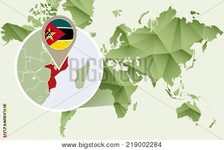 Infographic for Mozambique detailed map of Mozambique with flag. Vector Info graphic green map.