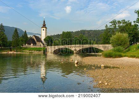 St John church the Bohinj lake Julian Alps in Slovenia