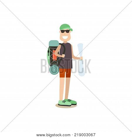 Vector illustration of traveler male or tour guide with backpack and map. Tourist people concept flat style design element, icon isolated on white background.