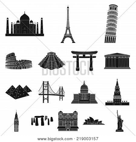 Sights of different countries black icons in set collection for design. Famous building vector symbol stock  illustration.