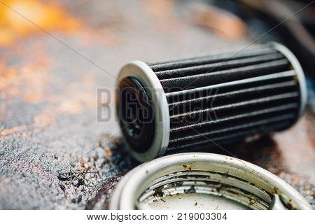Old Lubricant Engine Oil Filter At Car Garage