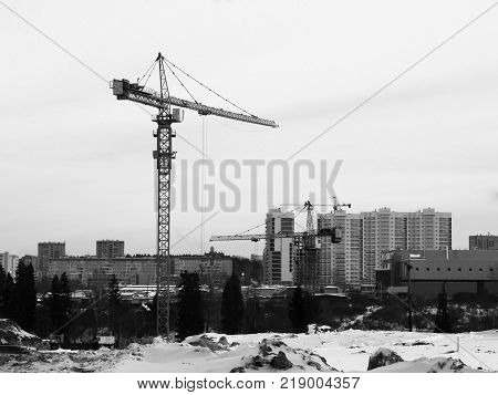 The Construction Crane In The Sity