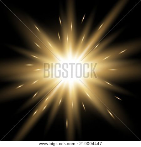Vector Spotlight. Light Effect With Sparks, Purple Color