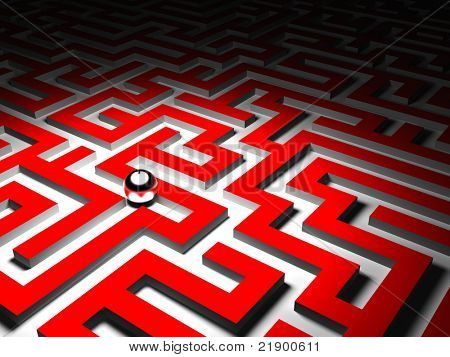 3d image of red maze and silver ball