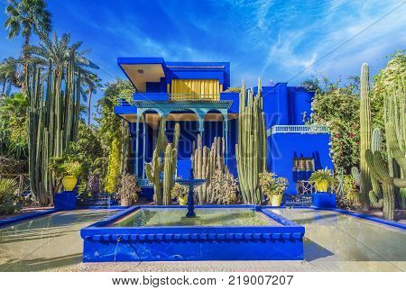 Le Jardin Majorelle, Marrakech, Morocco - November  14, 2017: Amazing tropical garden in Marrakech Morocco.