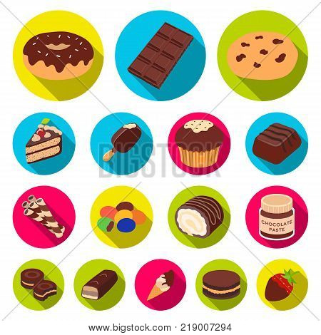 Chocolate Dessert flat icons in set collection for design. Chocolate and Sweets vector symbol stock  illustration.