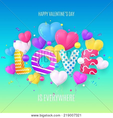 Happy Valentine's Day Abstract Colorful Card. Modern Color Abstraction with Realistic Balloons in the Form of Heart. Vector Illustration with Serpentine and Balls.