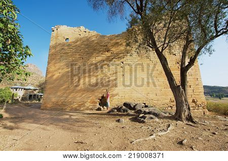 Ruins of the Yeha temple (Temple of the Moon) in Yeha, Ethiopia. Yeha temple is one of the oldest standing in Ethiopia.