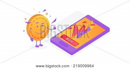 Growth of shares. The coin shows the likes Financial performance, statistic report, boost business productivity, mutual fund, return on investment,