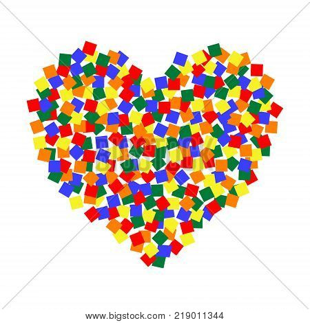 The heart of the LGBT color pixel art, vector LGBT community multicolored squares sticket heart shape, for Valentine's day, global love and pleasure from sex
