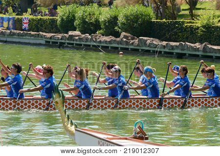 Rome Italy - July 30 2016: Dragon boat crews compete at the european championships held in Italy in 2016 summer in the photo the Italian crew ready to start the race