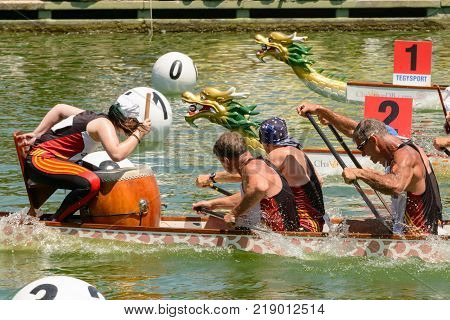 Rome Italy - July 30 2016: Dragon boat crews compete at the european championships held in Italy in 2016 summer Spain crew during the race