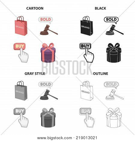 Shopping bag, sale at auction, buy button, purchase, gift wrapping. Sale and purchase set collection icons in cartoon black monochrome outline style vector symbol stock illustration .