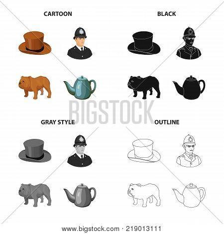 Hat is a cylinder, a policeman, an English bulldog, a kettle. England set collection icons in cartoon black monochrome outline style vector symbol stock illustration .