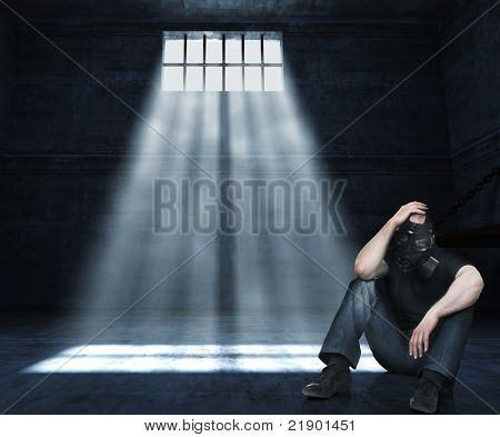 man with gas mask in 3d prison poster