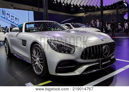 Bangkok Thailand - December 11 2017: Mercedes Benz AMG GT Roadster presented in Motor Expo 2017