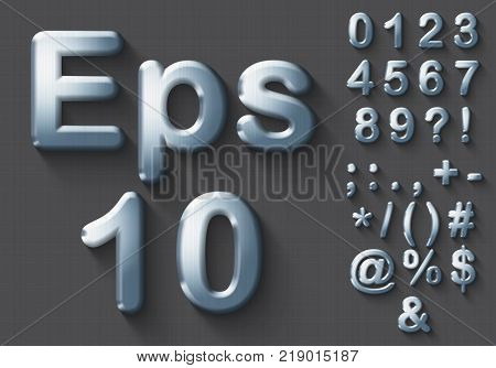 Set of polished chrome 3D Numbers and Symbols. Steel metallic shiny symbol on gray background. Good set for technology and production concepts. Transparent shadow, EPS 10 vector illustration.