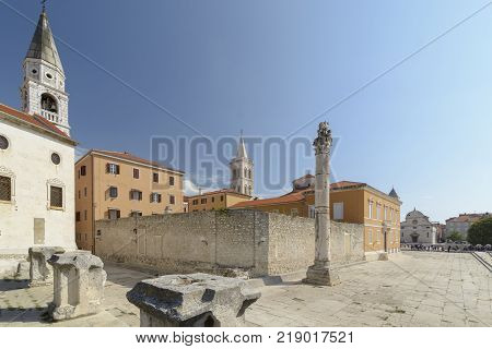Pillar of shame St Elias Church and The Cathedral of St. Anastasia on the city of Zadar Croatia