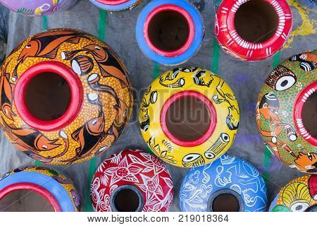 Bright colorful terracotta pots works of handicraft on display during Handicraft Fair in Kolkata - the biggest handicrafts fair in Asia.
