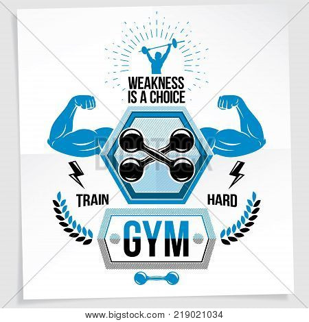 Heavy load power lifting championship vector advertising poster created with strong muscular bodybuilder arms with dumbbell sport equipment. Weakness is a choice lettering.
