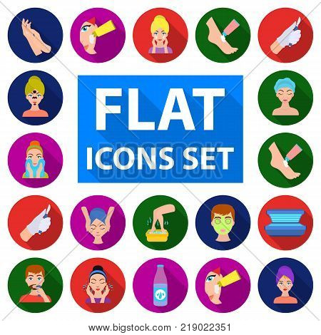 Skin care flat icons in set collection for design. Face and body vector symbol stock  illustration.