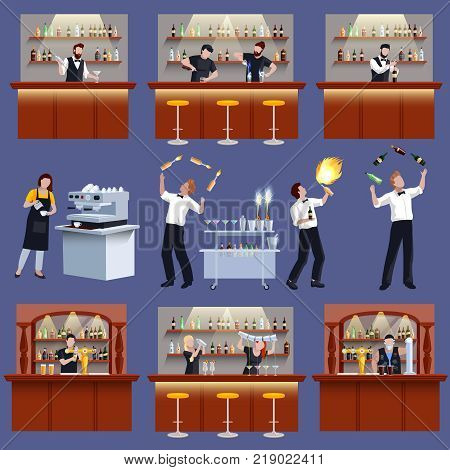 Colored and isolated bar icon set with barman bartender cocktail preparation and working people vector illustration