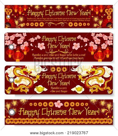 Happy Chinese New Year greeting banner with Lunar New Year holiday ornament. Dancing dragon with gold, blooming plum with red lantern, golden coin, firework and folding fan for Spring Festival design