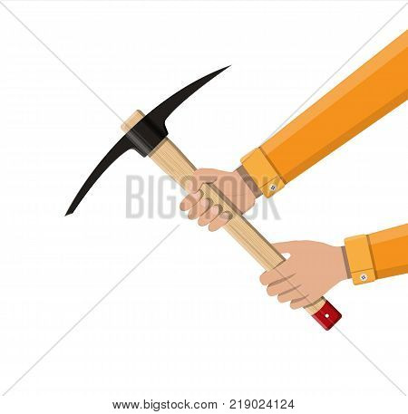 Wooden pickaxe with iron tip in hand. Miners hand tool for extracting minerals. Vector illustration in flat style
