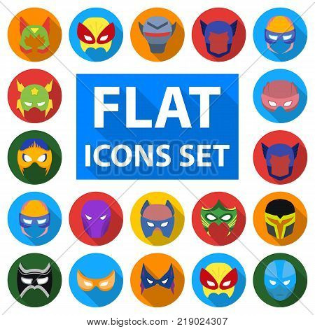 Carnival mask flat icons in set collection for design.Mask on the eyes and face vector symbol stock  illustration.