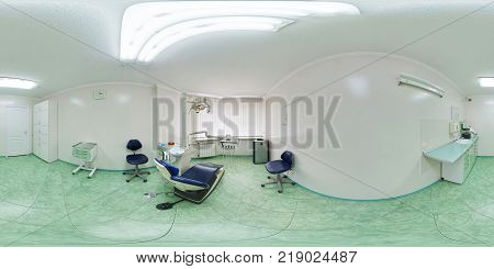 MINSK BELARUS - JULY 27 2011: Panorama of interier dentist surgeon orthopedist therapist cabinet in modern clinic full 360 seamless panorama in equirectangular spherical projection VR content