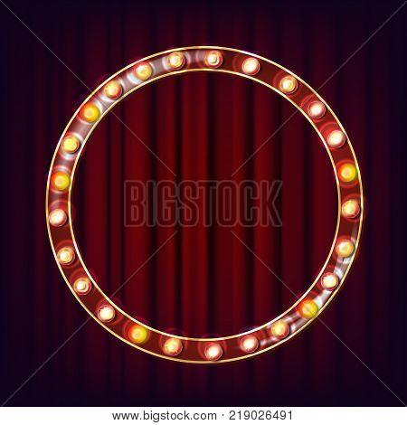 Retro Billboard Vector. Shining Light Sign Board. Shine Lamp Frame. Glowing Element. Vintage Illuminated Neon Light. Casino Style. Illustration