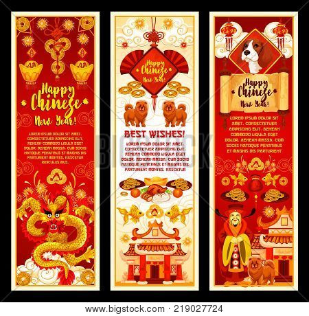 Happy Chinese New Year greeting banners of traditional Chinese symbols and decorations for lunar year holiday celebration. Vector golden dragon, fish or coins and dog or China drum ornaments