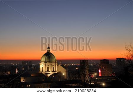 Panoramic view of the city of Brescia with the light of the sunset - Lombardy