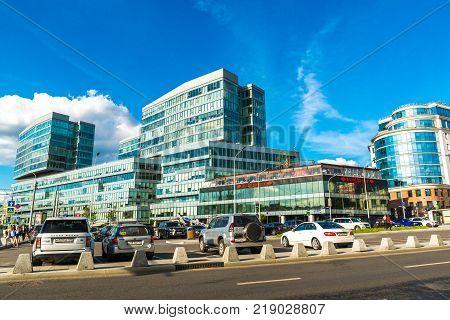 Moscow, Russia - July 24. 2017. The Legenda Tsvetnogo is business center on Tsvetnoy Bulvar Street