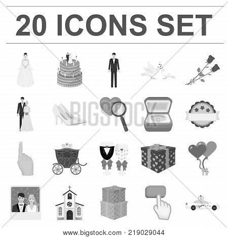 Wedding and Attributes monochrome icons in set collection for design. Newlyweds and Accessories vector symbol stock  illustration.