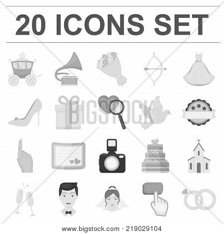Wedding and Attributes monochrome icons in set collection for design.Newlyweds and Accessories vector symbol stock  illustration.
