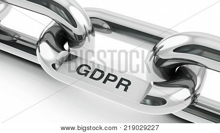 Chain with link with text - GDPR - General Data Protection Regulation three-dimensional rendering 3D illustration