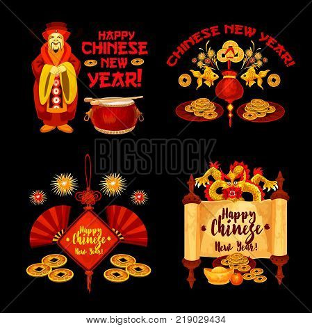 Chinese Lunar New Year badge with asian holiday ornaments. Oriental Spring Festival lucky coin, dragon and god of wealth with gold ingot, firework and fan, parchment and wishes of Happy New Year