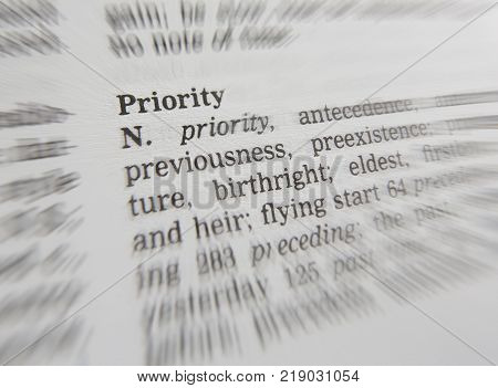 CLECKHEATON, WEST YORKSHIRE, UK: THESAURAS PAGE SHOWING DEFINITION OF WORD PRIORITY, 30TH MARCH 2005, CLECKHEATON, WEST YORKSHIRE, UK