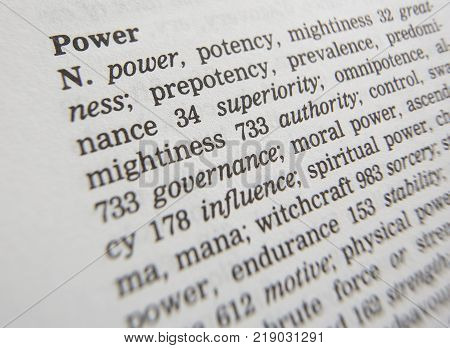 CLECKHEATON, WEST YORKSHIRE, UK: THESAURAS PAGE SHOWING DEFINITION OF WORD POWER, 30TH MARCH 2005, CLECKHEATON, WEST YORKSHIRE, UK