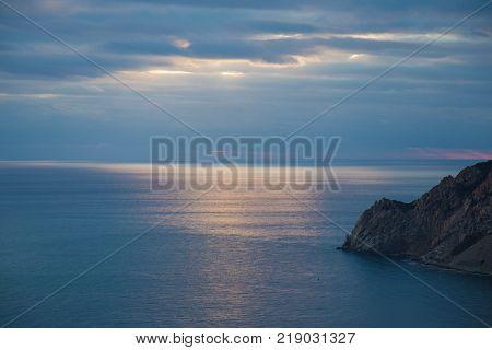The Horizon in the Ligurian Sea in the area of Cinque Terre in Italy.