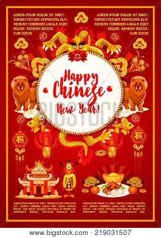 Happy Chinese New Year red greeting card of golden traditional lunar holiday decorations. Vector Chinese dragon in fireworks, China emperor with hieroglyph wishes scroll and Peking duck dish