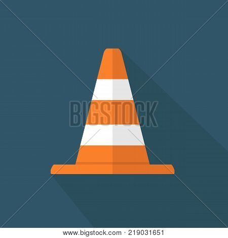 Construction cone icon isolated on background. Safety traffic. Vector stock.