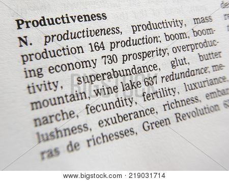Cleckheaton, West Yorkshire, Uk: Thesauras Page Showing Definition Of Word Productiveness, 30th Marc