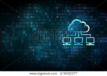 Cloud technology concept: pixelated Cloud Network icon on digital background, empty copyspace for card, text, advertising