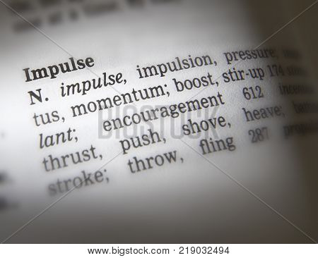 Cleckheaton, West Yorkshire, Uk: Thesauras Page Showing Definition Of Word Impulse, 30th March 2005,