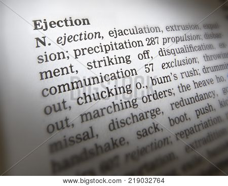 Cleckheaton, West Yorkshire, Uk: Thesaurus Page Showing Definition Of Word Ejection, 30th March 2005